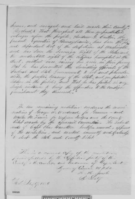 York Pennsylvania Copperhead Convention, September 1863  (Resolutions; certified by H. H. Jacob, February 9, 1864)