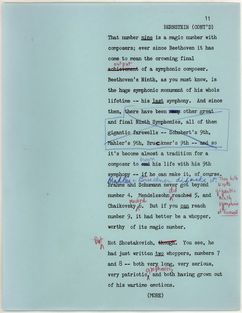 Young People's Concerts Scripts: A Birthday Tribute to Shostakovich [typewcript on blue paper with emendations in red and blue pencil, newpage 12 mimeograph]