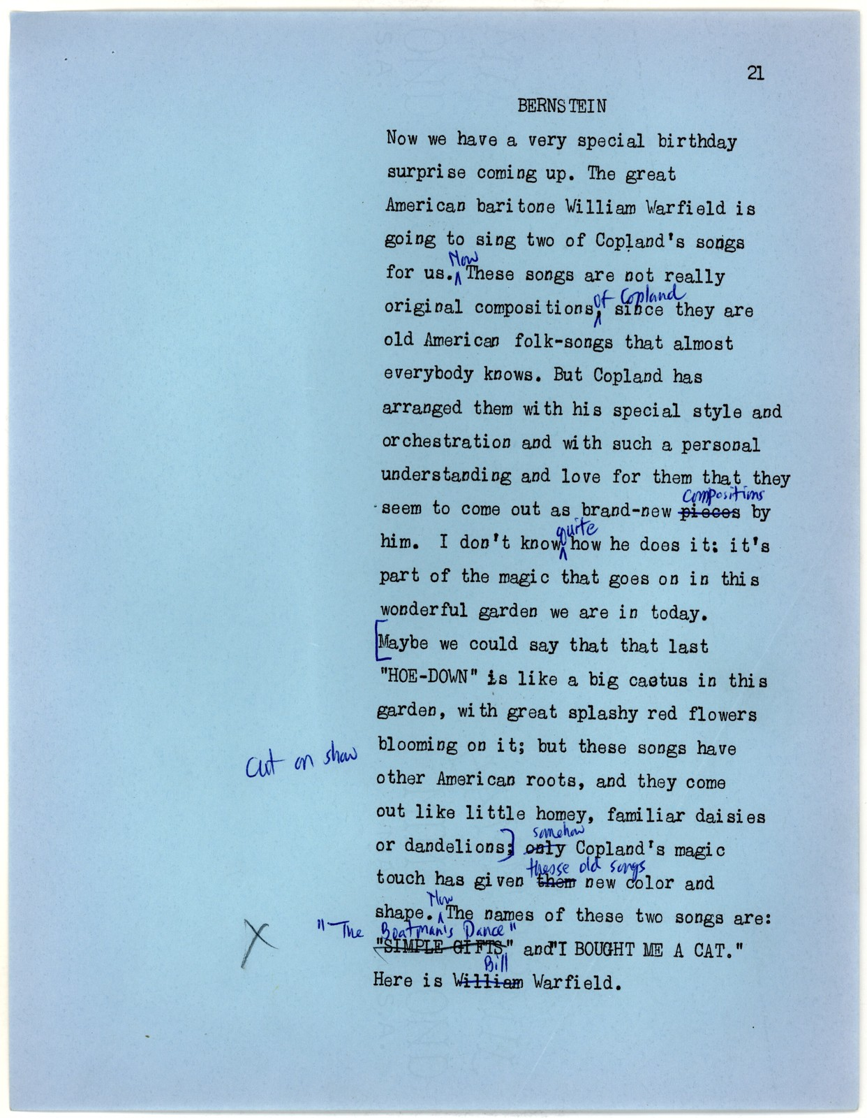 Young People's Concerts Scripts: Aaron Copland Birthday Party [typescript in blue paper with emendations in ink & blue and black pencil]