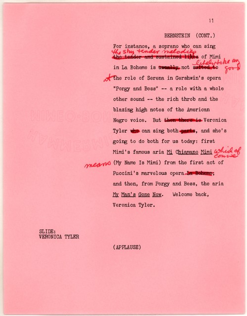 Young People's Concerts Scripts: Alumni Reunion [typescript on pink paper with emendations in red ink]
