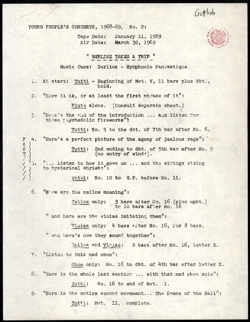 """Young People's Concerts Scripts: Berlioz Takes a Trip [typescript with emendations in pencil & ink; """"Music Cues""""]"""