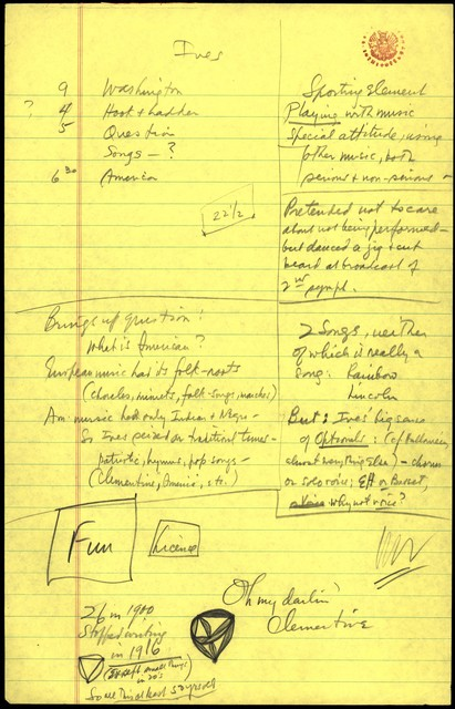 Young People's Concerts Scripts: Charles Ives:  American Pioneer [pencil on yellow legal pad paper pad paper; [Notes]]