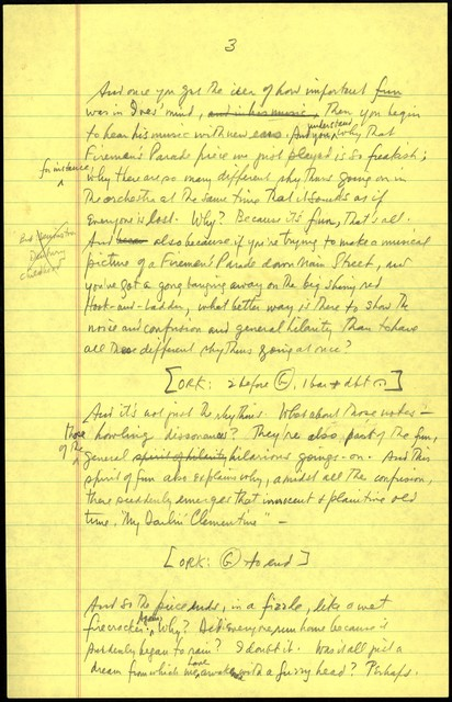 Young People's Concerts Scripts: Charles Ives:  American Pioneer [pencil on yellow legal pad paper pad paper, emendation in red pencil]