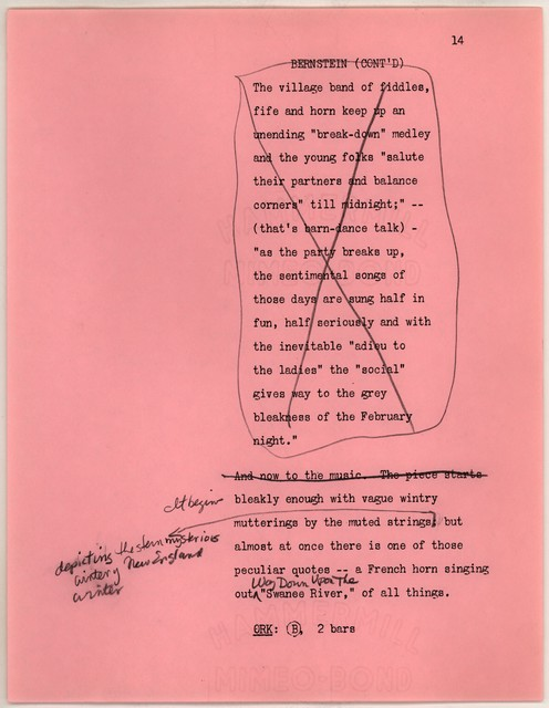 Young People's Concerts Scripts: Charles Ives:  American Pioneer [typescript on pink paper plus 3 mimeo on pink & 2 on white, emendations in pencil]