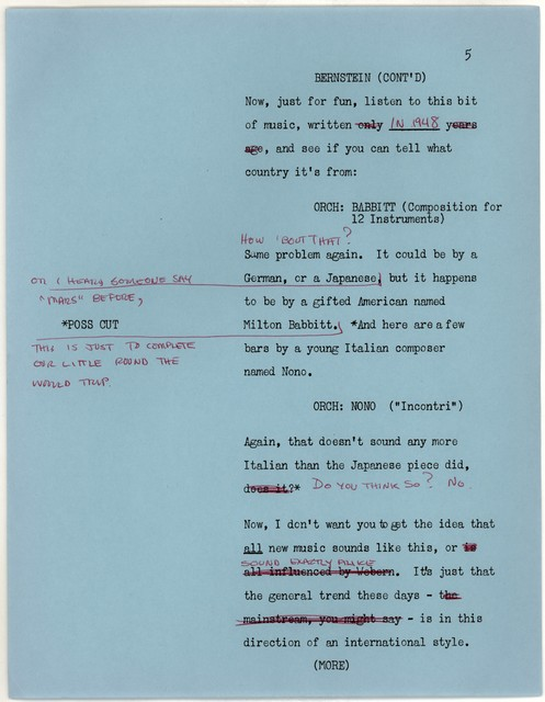 Young People's Concerts Scripts: Farewell to Nationalism [typescript on blue paper with emendations in black & red ink & red pencil, insert is mimeo]