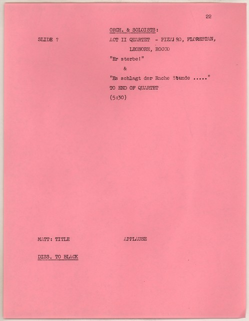 "Young People's Concerts Scripts: ""Fidelio"":  A Celebration of Life [typescript on pink paper with emendations in pencil,page 7r is mimeograph]"