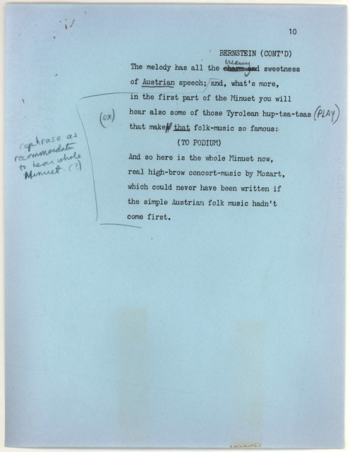 Young People's Concerts Scripts: Folk Music in the Concert Hall [typescript on blue paper with emendations in blue and black pencil, yellow fragment pasted onpage 9]