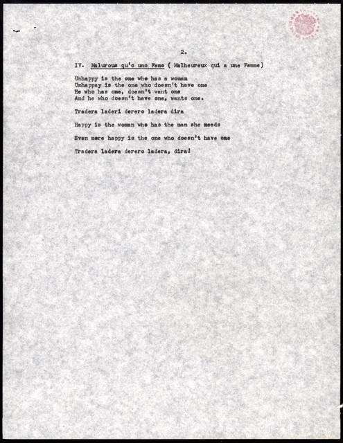 """Young People's Concerts Scripts: Folk Music in the Concert Hall [typescripts & pencil ms., 1 marked in red pencil; """"Translations""""/""""Music Timings""""; """"Music Cues""""]"""