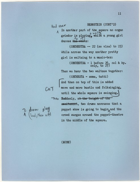 Young People's Concerts Scripts: Happy Birthday, Igor Stravinsky [typescript on blue paper with emendations in red, blue & black pencil)]