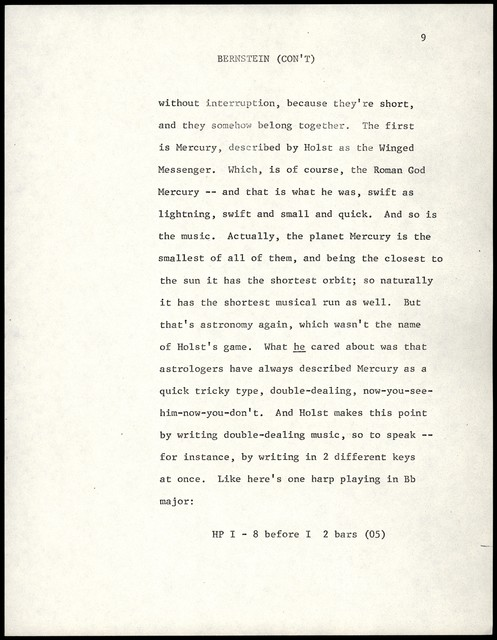 """Young People's Concerts Scripts: Holst:  """"The Planets"""" [typescript on white paper]"""