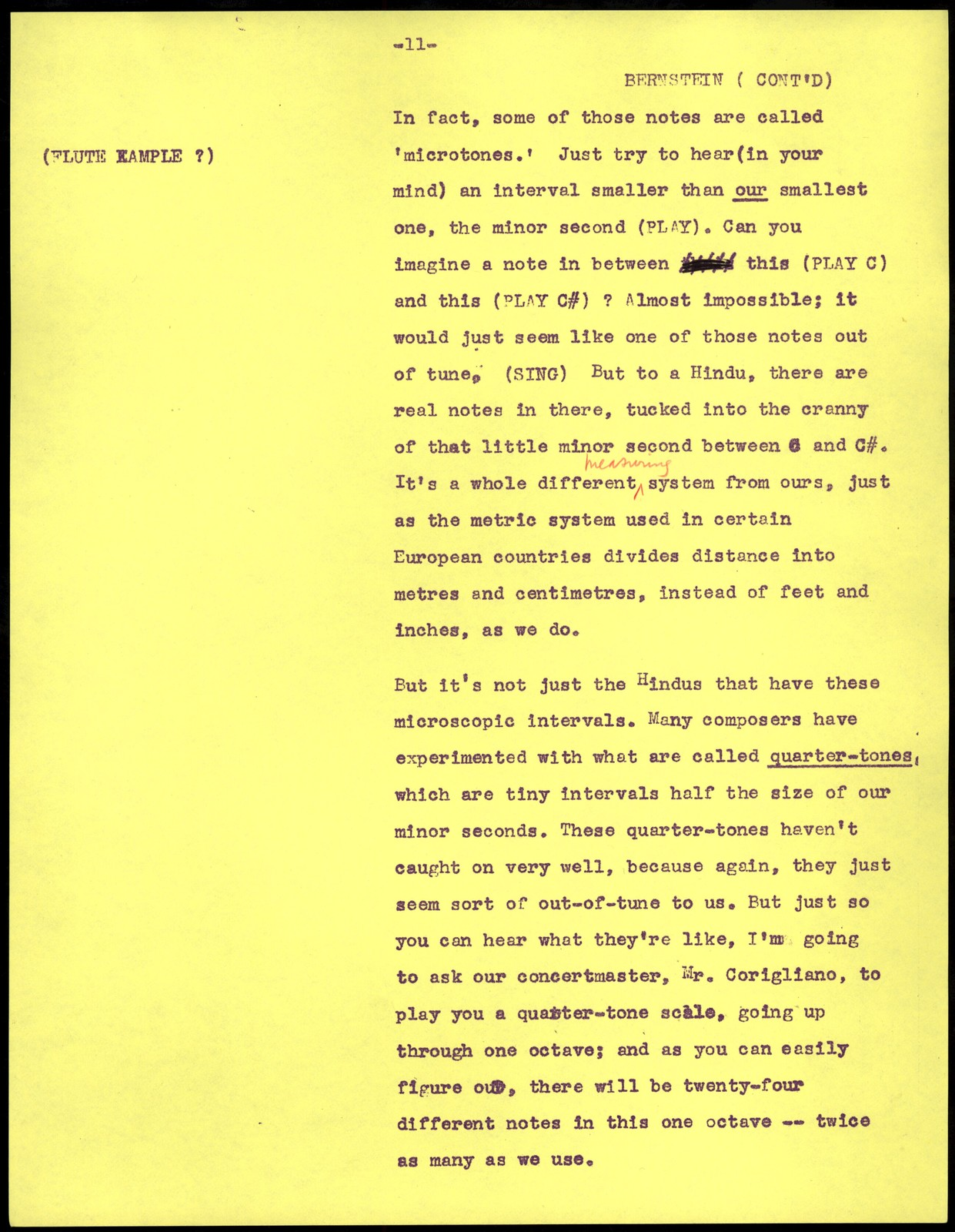 Young People's Concerts Scripts: Musical Atoms:  A Study of Intervals [mimeograph on yellow paper, inserts pencil on yellow legal pad paper, emendations in red & black pencil & ink]