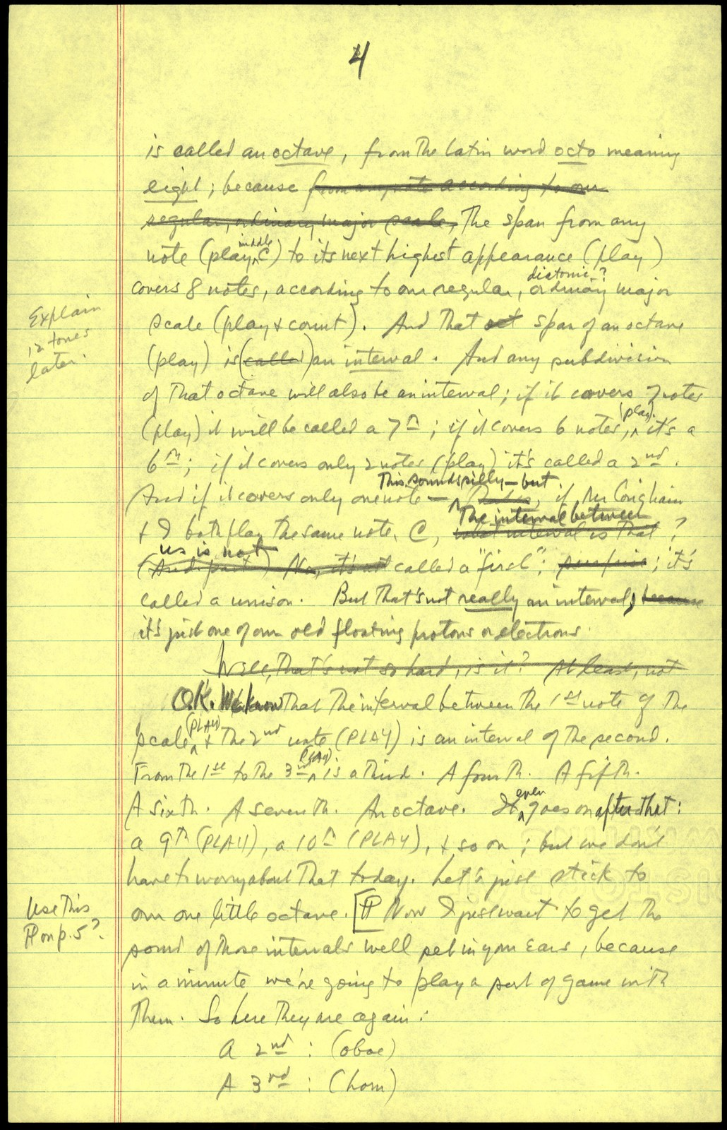 Young People's Concerts Scripts: Musical Atoms:  A Study of Intervals [pencil on yellow legal pad paper]