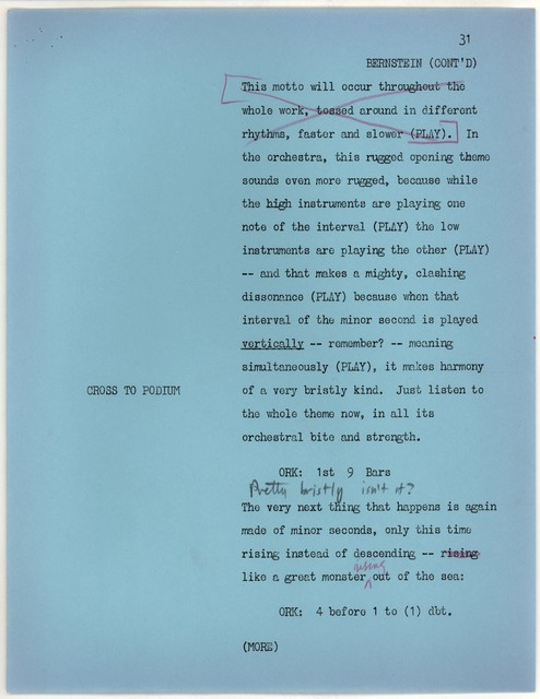 Young People's Concerts Scripts: Musical Atoms:  A Study of Intervals [typescript in blue paper, 23/22 & 35/36 mimeo on white, emendations in red black & blue pencil]