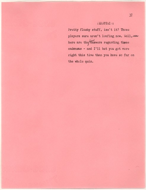 Young People's Concerts Scripts: Quiz Concert:  How Musical Are You? [typescript on pink paper with emendations in pencil]