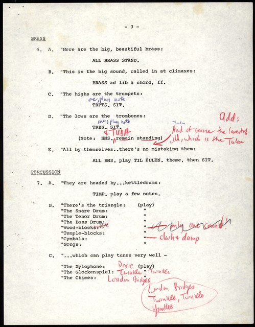 Young People's Concerts Scripts: The Anatomy of a Symphony Orchestra [typescript with emendations in red & black penci & ink; [Music Cues]]