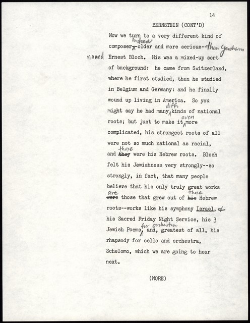 Young People's Concerts Scripts: The Road to Paris [typescript with emendations in pencil]