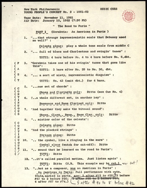 "Young People's Concerts Scripts: The Road to Paris [typescript with emendations in black & red pencil; ""Music Cues""]"