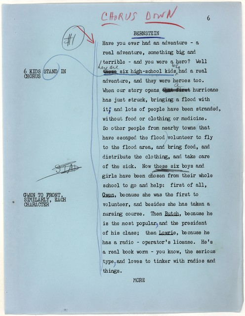 Young People's Concerts Scripts: The Second Hurricane [typescript on blue paper with emendations in red, blue & black pencil]