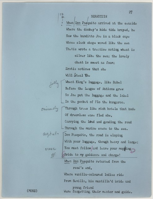 Young People's Concerts Scripts: The Sound of a Hall [typescript on blue paper with emendations in ink & red & black pencil]