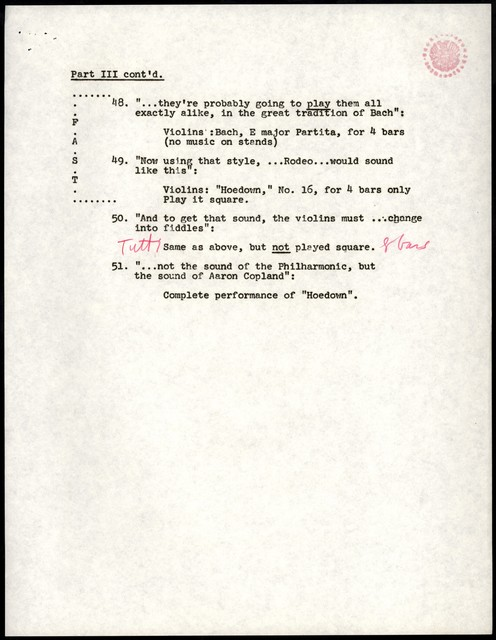 "Young People's Concerts Scripts: The Sound of an Orchestra [typescript with emendations in red and blue pencil; ""Cue Sheets""]"