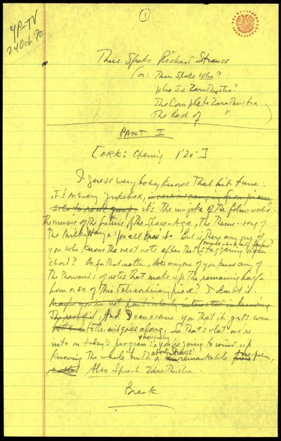Young People's Concerts Scripts: Thus Spake Richard Strauss [pencil on yellow legal pad paper]