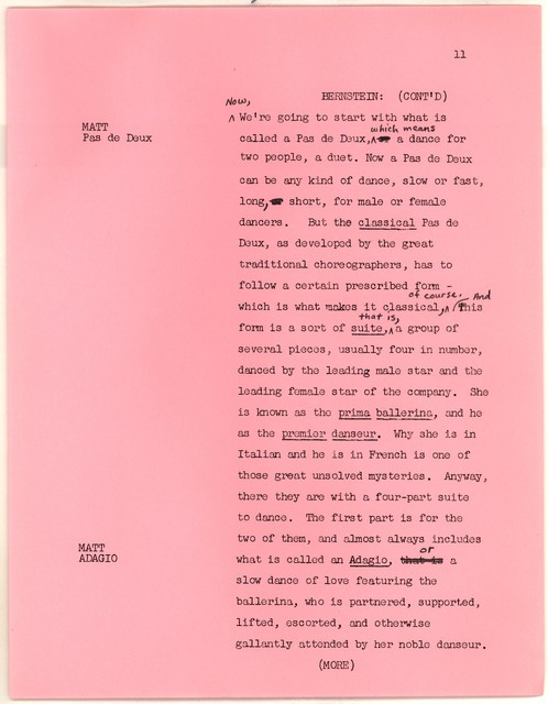Young People's Concerts Scripts: Two Ballet Birds [typescript on pink paper with emendations in pencil]
