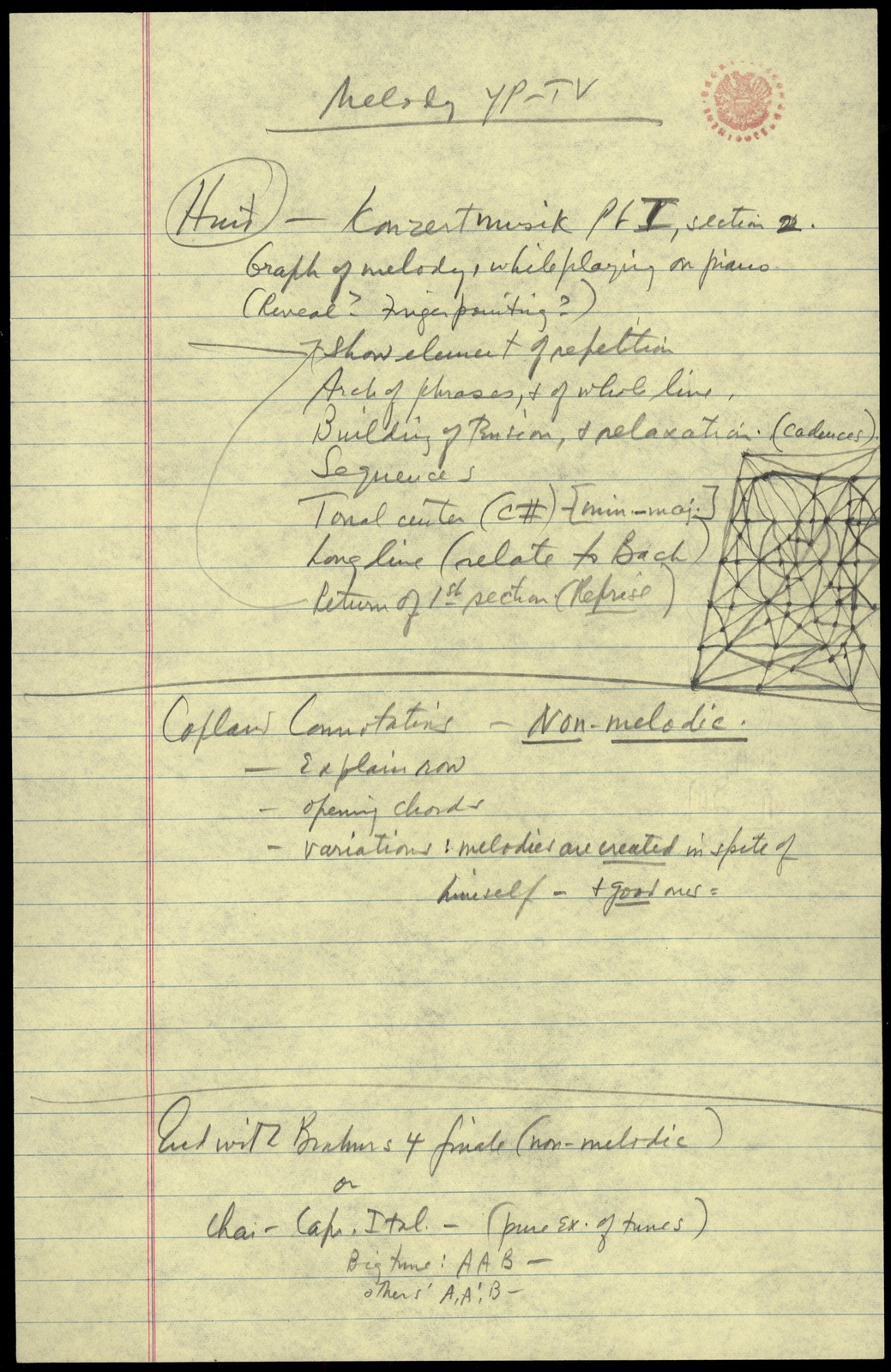Young People's Concerts Scripts: What is a Melody? [pencil on yellow legal pad paper with emendations in red pencil]