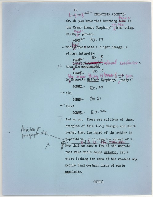 Young People's Concerts Scripts: What is a Melody? [typescript on blue paper with emendations in red & black pencil; pages 16-16A revised mimeo on white]