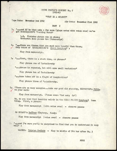 """Young People's Concerts Scripts: What is a Melody? [typescript with annotations in red pencil; """"Cue sheet""""]"""