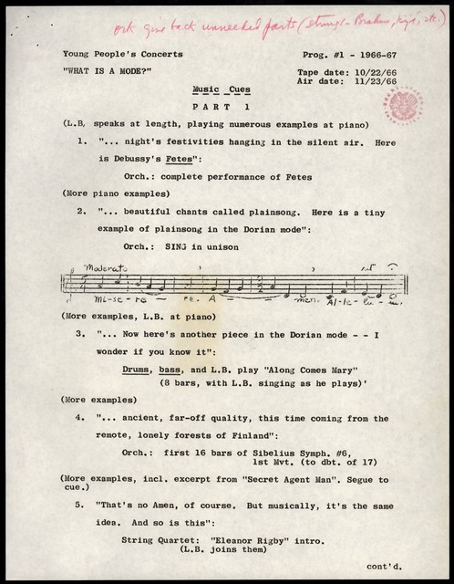 "Young People's Concerts Scripts: What Is a Mode? [mimeograph/typescript w/ emendation in red pencil ; ""Rehearsal Schedule""/""Music Cues""]"