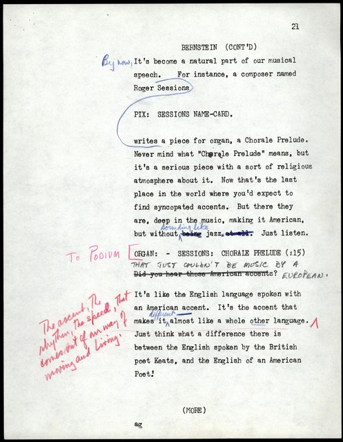 Young People's Concerts Scripts: What is American Music? [typescript with emendations in red, blue & black pencil (pg. 16 torn and taped)]