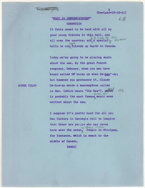 Young People's Concerts Scripts: What is Impressionism? [typescript on blue paper, some mimiographed, with emendations in pencil]