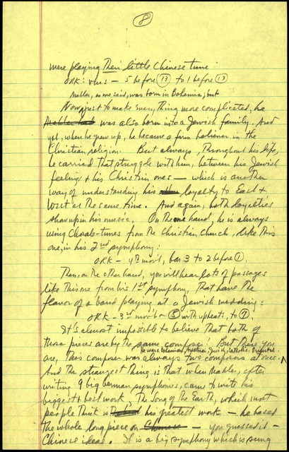 """Young People's Concerts Scripts: Who is Gustav Mahler? [pencil on yellow legal pad paper 1st 12 pages, then pencil on white 6""""x9"""" for last three, emendations blue & r]"""
