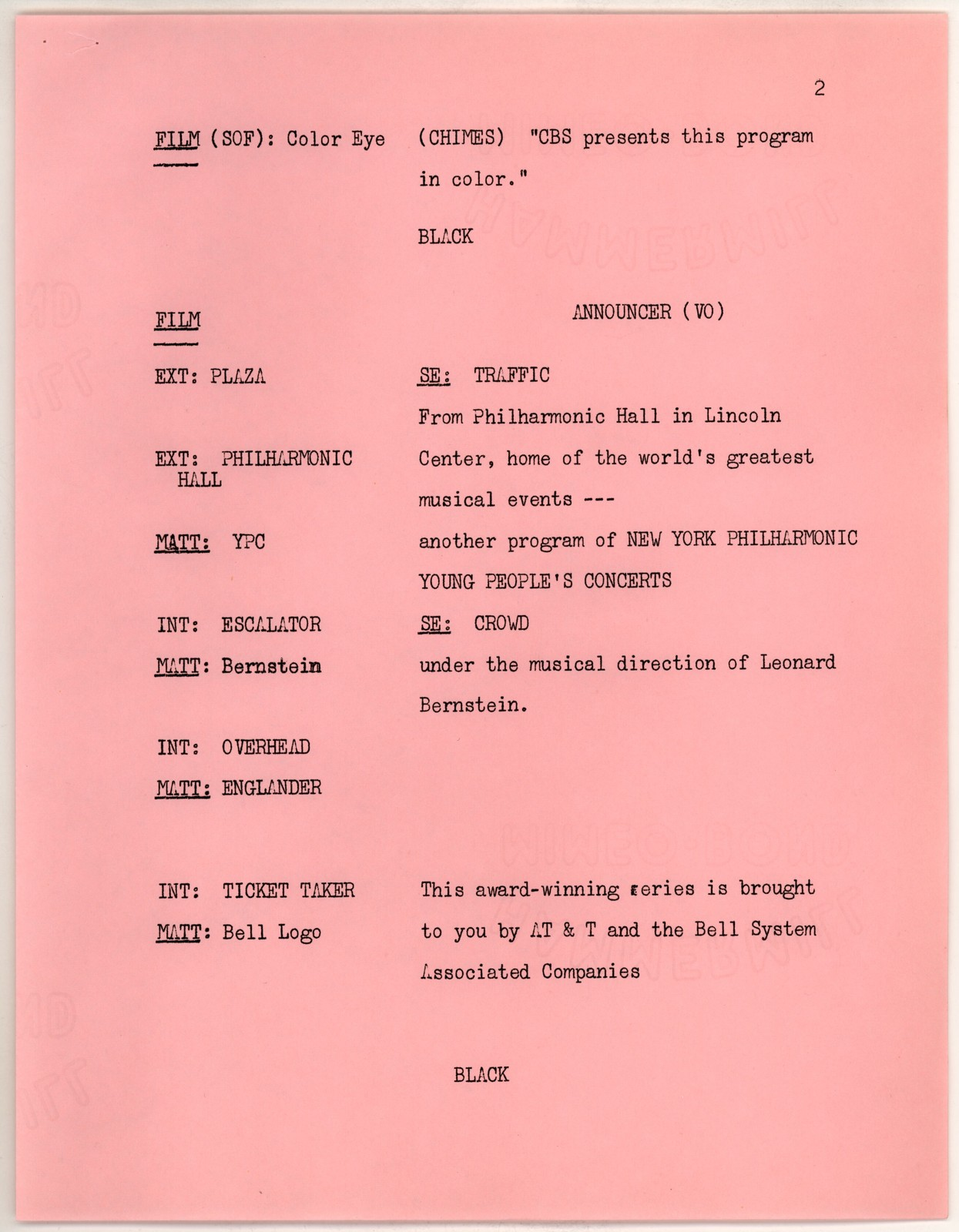Young People's Concerts Scripts: Young Performers [typescript on pink paper with emendations in black and blue pencil]