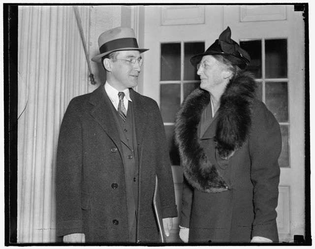 Young Roosevelt begins parleys. Washington, D.C., Nov. 1. Among the first to meet with James Roosevelt, son of the president and a member of his secretariat, as he began his conferences today with head of independent and emergency agencies, were Arthur J. Altmeyer, Chairman of the Social Security Board, and Mary W. Dewson, a member of the board. The conferences, which are to be held Monday and Tuesday of every week, are expected to solve the administration problems and effect better coordination, 11/1/37