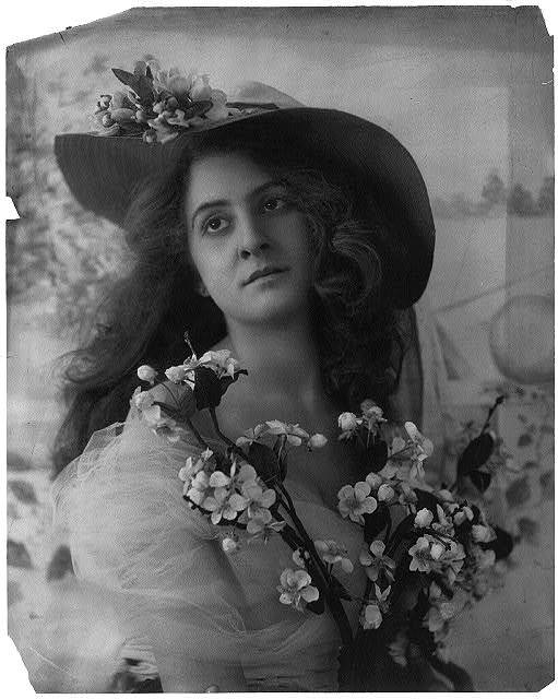 [Young woman modeling: half lgth., wearing large-brimmed hat and holding fruit tree blossoms]