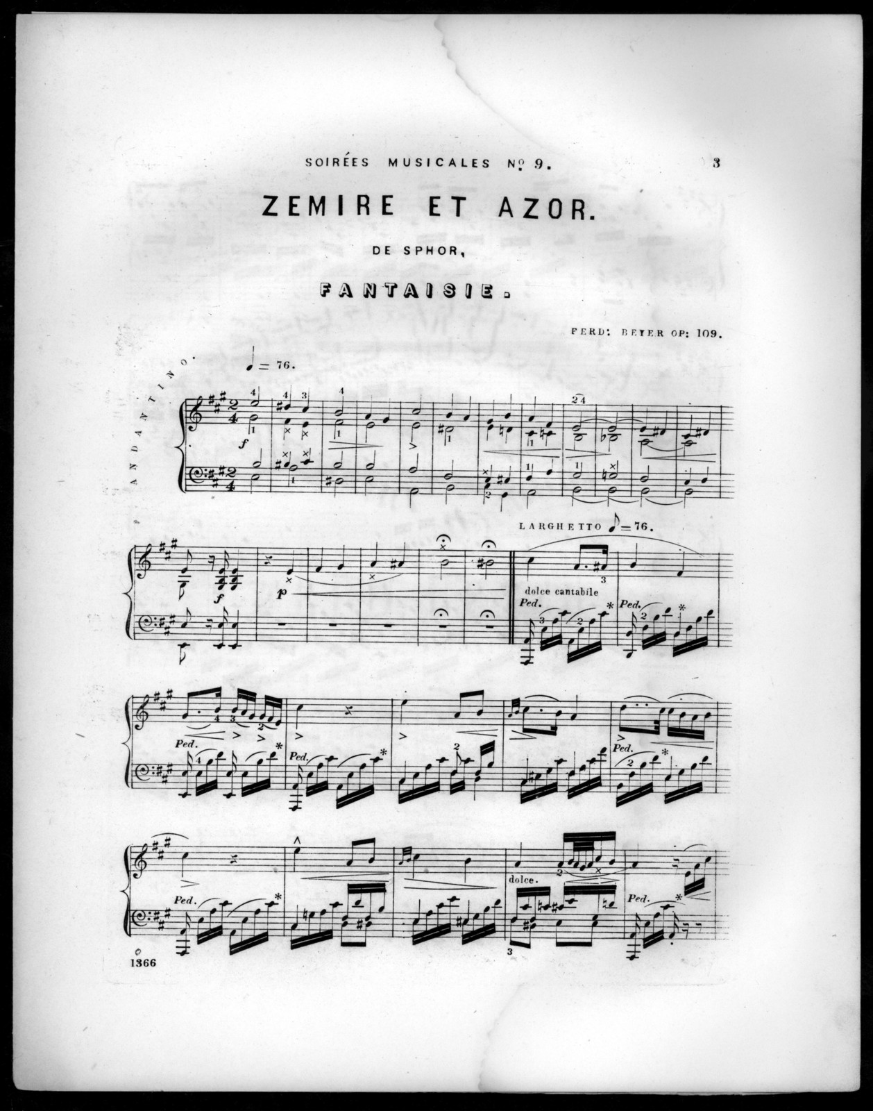 Zemire at Azor de Sphor, fantaisie, op. 109