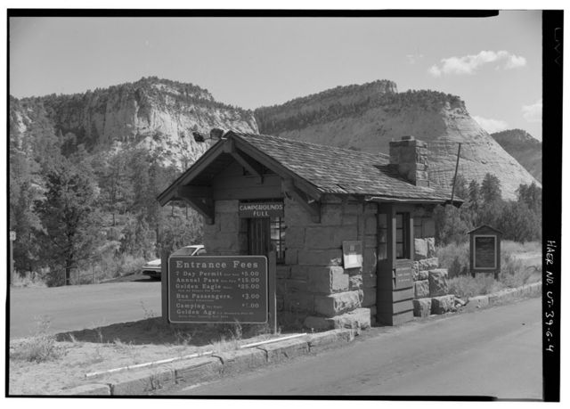 Zion-Mount Carmel Highway, East Entrance Station, At east park boundary, Springdale, Washington County, UT