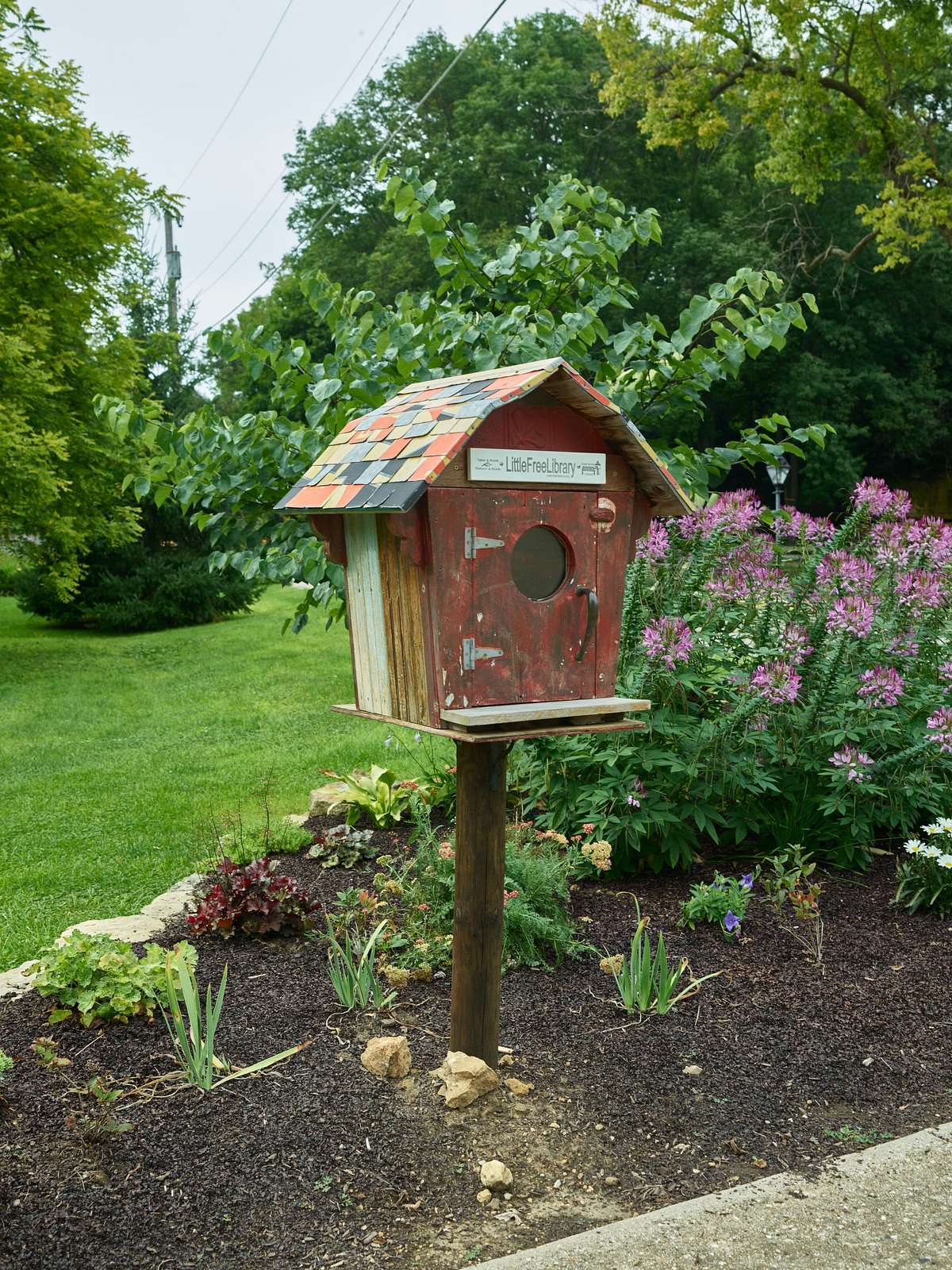 """A """"birdhouse"""" free library in the Pendarvis neighborhood of Mineral Point, Wisconsin"""