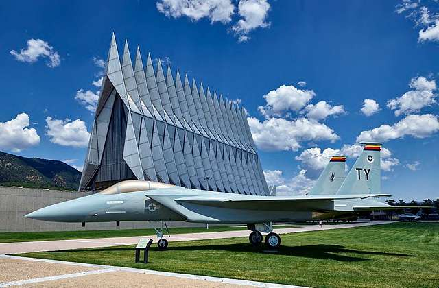 Fighter jet outside the United States Air Force Academy Cadet Chapel in Colorado Springs, Colorado