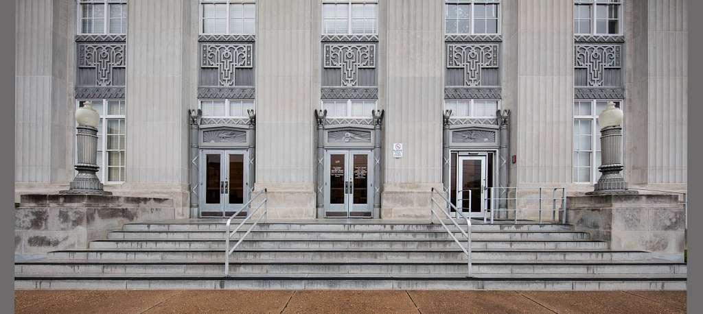 Front entrance. Art Deco style Federal Building & U.S. Courthouse, Monroe, Louisiana