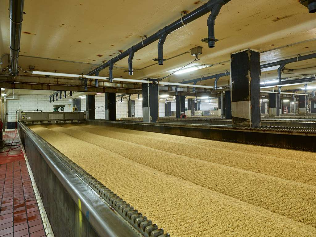 """Long """"germination compartments"""" where (collectively) 32 acres of barley grains a day are tended so as to sprout into flavorful malt at the MillerCoors Brewery, the world's largest single brewing operation and one of the Denver area's perpetually popular tourist attractions, in Golden, Colorado"""