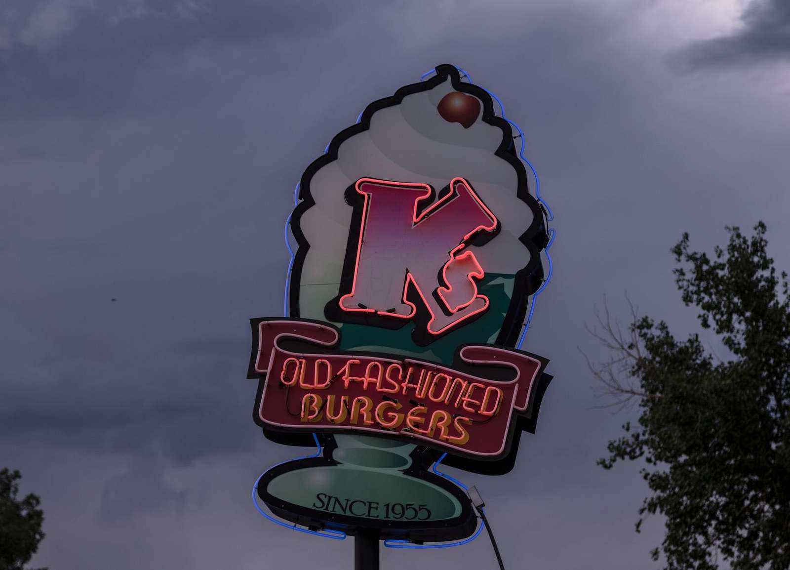 Neon sign for the K's Old Fashioned Burgers restaurant in Buena Vista, Colorado