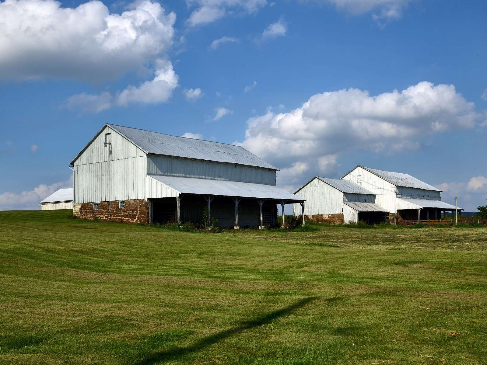 Row of barns in High Amana, one of the Amana Colonies, seven villages in Iowa County, Iowa