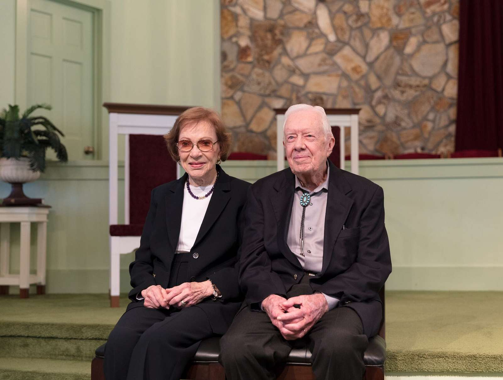 Several times each year former U.S. president Jimmy Carter discusses the meaning of biblical passages during his Sunday School lessons at the Maranantha Baptist Church in Carter's hometown of Plains, Georgia, and following each lesson, he and his wife, former First Lady Rosalynn Carter, also a Plains native, wait to greet each and every parishioner who wishes to be photographed with the former first couple