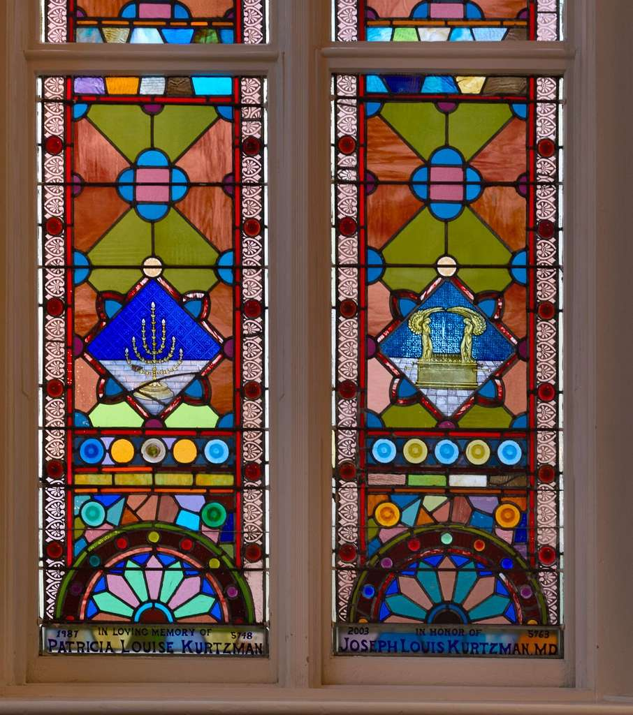 """Stained glass windows at the historic Kahal Kadosh Beth Elohim synagogue, known locally and affectionately as """"the KKBE,"""" in Charleston, South Carolina"""