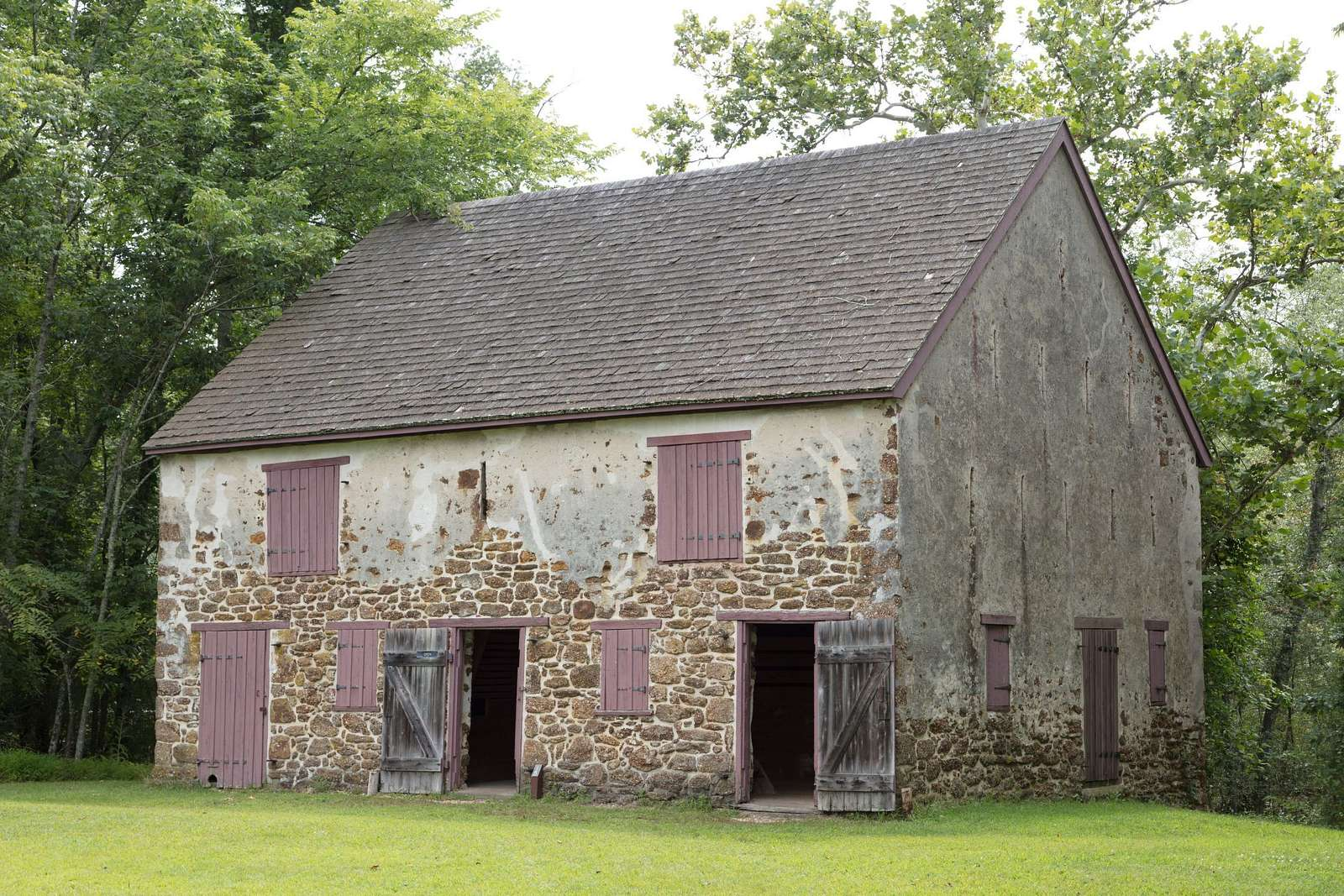 Stone barn in the historic village of Batsto in the Pine Barrens of New Jersey