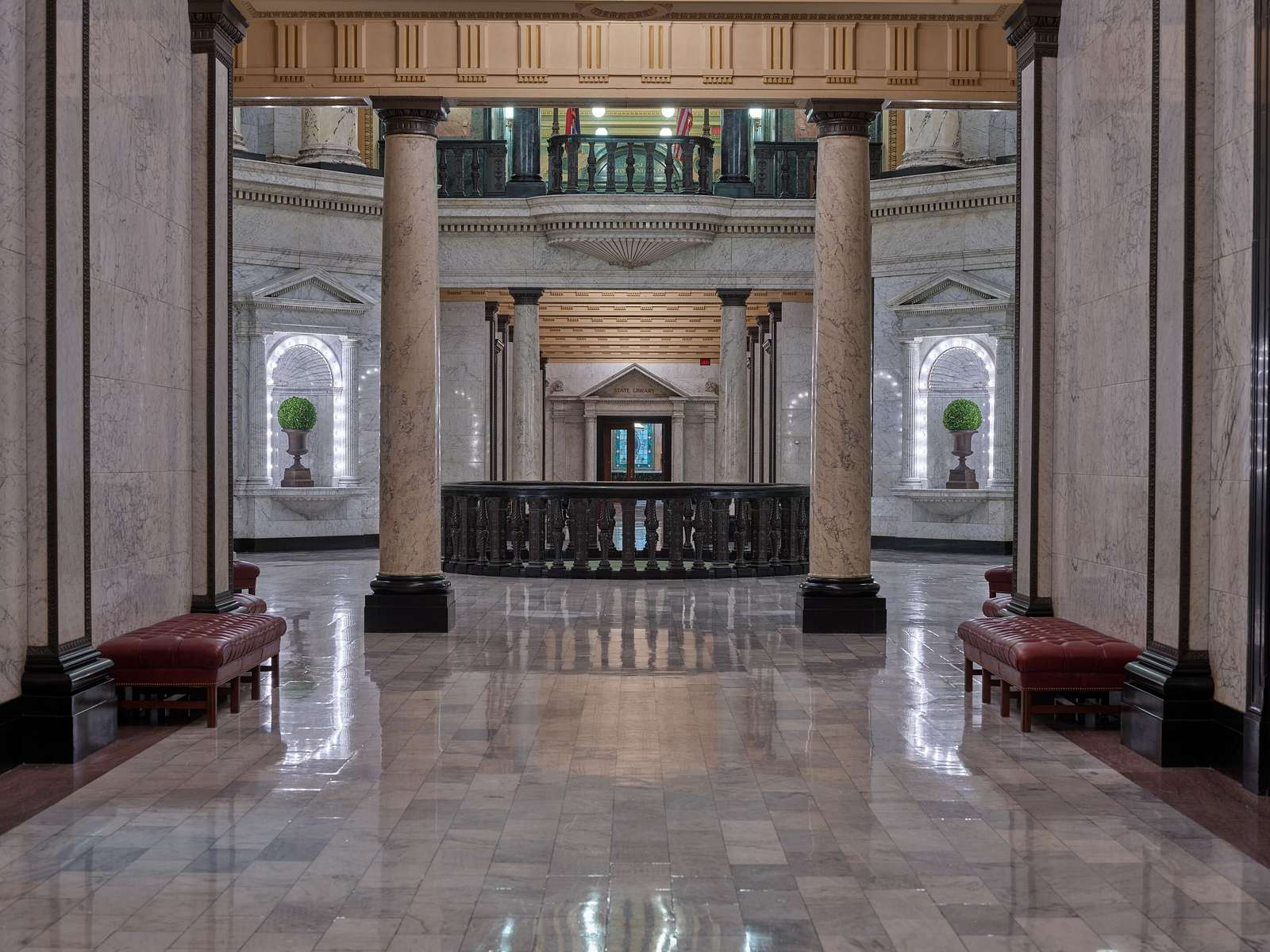 View of the old State Library through the rotunda at the Mississippi State Capitol in Jackson