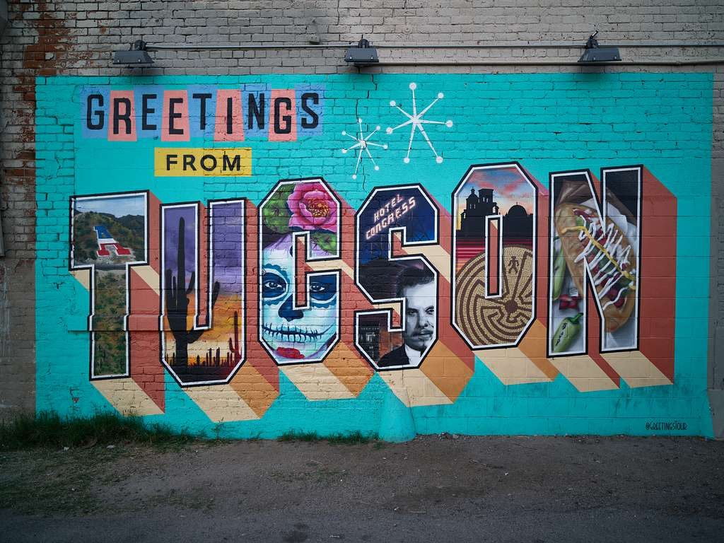 "The ""Tucson Greeting Card"" mural in Tucson, Arizona"