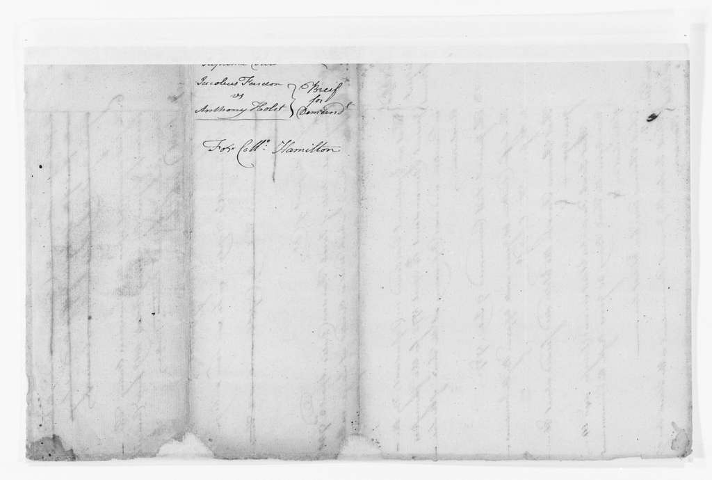 Alexander Hamilton Papers: Legal File, 1708-1804; Fardon v. Holst